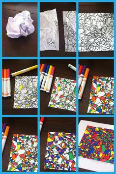 Crinkled paper & markers – This seems pretty simple! sub plan – fractured art – … Crinkled paper & markers – This seems pretty simple! sub plan – fractured art – Art Sub Plans, Art Lesson Plans, Art Substitute Plans, Middle School Art, Art School, Art Sub Lessons, Classe D'art, 5th Grade Art, Ecole Art