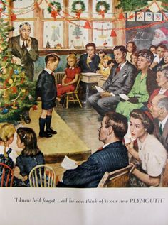 1948 Plymouth Vintage Christmas Advertisement by RelicEclectic on Etsy #RelicEclectic #VintageAd #ChristmasWallArt