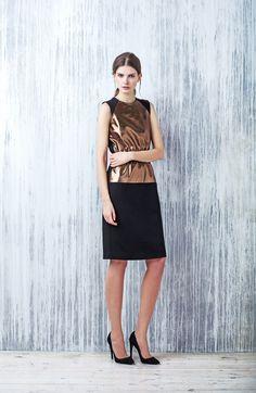LUBLU Kira Plastinina Pre Fall 2014 Copperplate sheath dress.