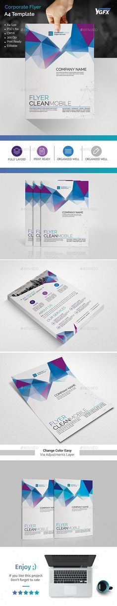 A4 Corporate Flyer 01 A4 Coporate Flyer Template . This layout is suitable for any project purpose. Very easy to use and customise