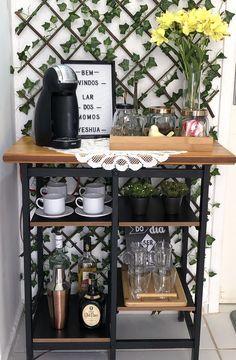 Coffee Area, Coffee Nook, Coffee Bar Home, Coffee Bar Station, Home Coffee Stations, Canto Bar, Deco Studio, Home Salon, Beauty Room