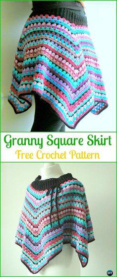 Crochet Granny Square Skirt Free Pattern - Crochet Women Skirt Free Patterns