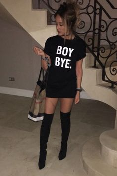 CHARLOTTE CROSBY BOY BYE BLACK SLOGAN TEE DRESS