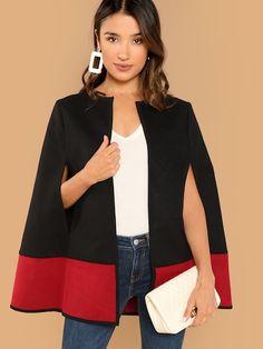 Shop Two Tone Open Front Cape Coat online. SheIn offers Two Tone Open Front  Cape d553cb141dd3