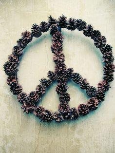 Pinecone peace wreath
