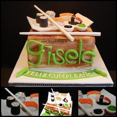Here's our first Sushi cake…. I love the lime green on this cake…colour just pops. I hope the birthday girl enjoyed this as much as we enjoyed making it. Cake Decorating Designs, Cake Designs, Decorating Ideas, Sushi For Kids, Camera Cakes, Sushi Cake, Japanese Cake, Cakes For Women, Colorful Cakes