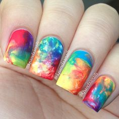 .@kpandaanails | Here's some super easy rainbow watercolor nails using Saran Wrap. | Webstagram - the best Instagram viewer