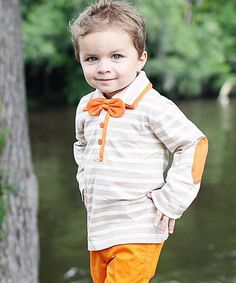 Love this Tan Stripe Bow Tie Polo - Infant, Toddler & Boys on #zulily! #zulilyfinds