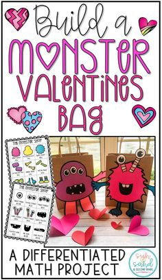 Create a monster valentines mailbox or bag! This is a fun math project that gets students working while making their valentines bags!