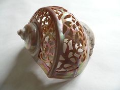 VICTORIAN MOTHER OF PEARL CARVED NATURAL SEA SHELL - Intricately cut ornate patterning AND using a sea shell as a substrate. Definitely thinking outside the box!
