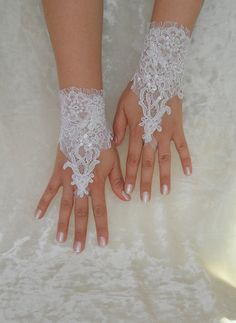 White Wedding gloves adorned beads french lace by WEDDINGHome, $30.00