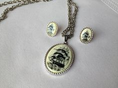 """Sarah Coventry """"Legend"""" Ship Necklace and earrings set with Sarah Coventry chain by JudysVintageCorner on Etsy https://www.etsy.com/listing/125507646/sarah-coventry-legend-ship-necklace-and"""