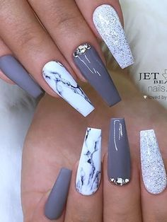 Apr 2020 - Beautiful gray nails acrylic coffin matte and shiny with an accent marble and glitter nails! : Beautiful gray nails acrylic coffin matte and shiny with an accent marble and glitter nails! Marble Acrylic Nails, Acrylic Nails Coffin Short, Summer Acrylic Nails, Best Acrylic Nails, Best Nails, Coffin Nails Ombre, Acrylic Art, Summer Nails, Grey Nail Art