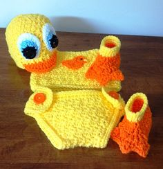 Little Ducky Hat diaper cover top and booties for newborn.  Great photo prop.  $39.99  Order yours today at  https://www.etsy.com/listing/156446142/baby-duck-costume-newborn-duck-hat?ref=shop_home_active_20$ .  Pattern also available.