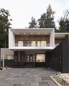 Портфолио: Загородный дом в Пензе Modern House Facades, Modern Exterior House Designs, Modern Architecture House, Dream House Exterior, Contemporary Home Exteriors, Exterior Design, House Arch Design, Minimal House Design, Casas The Sims 4