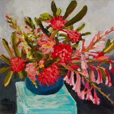 Laura Jones, Waratahs, Watsonia and Snaps 2013, oil on linen, 40 x 40 cm