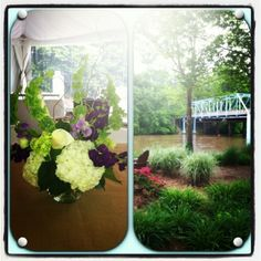 purples whites and greens for river wedding www.flowersfromus.net