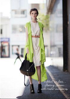 """flowing femme + rocker accessories"" coco+kelley_chartreuse_street style_summer"