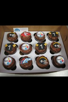 Steelers, broncos and chiefs cupcakes