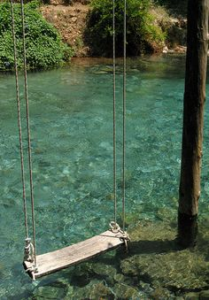 Swing + water = HEAVEN