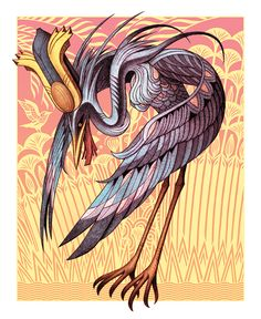 Bennu #illustration #mythology #edkwong #pattern #mademythos #bird #crane #Egyptian #creature Ancient Egypt Art, Ancient Artifacts, Mythological Creatures, Fantasy Creatures, Anubis, Egyptian Mythology, Gods And Goddesses, Deities, Japanese Art