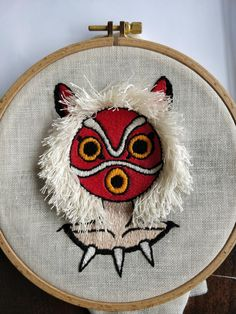 Princess Mononoke - first (almost) finished project Hand Embroidery Stitches, Cross Stitch Embroidery, Embroidery Patterns, Embroidery Floss Storage, Anime Crafts, Princess Mononoke, Crafty Craft, Totoro, Cross Stitch Designs