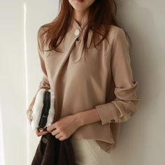 Round neck long sleeve office blouse shirt in blouses & shirts free Office Blouse, The Office Shirts, Long Blouse, Fashion 2020, Fashion Fashion, Shirt Blouses, Blouses For Women, Shirt Style, Long Sleeve Tops