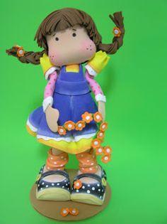 FOFUCHA JARDINERA | Pasaloda Polymer Clay Crafts, Craft Tutorials, Magnolia, Smurfs, Princess Peach, Dolls, Biscuits, Google, Party