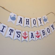 Ahoy its a boy banner . nautical theme baby by twinepaperscissors