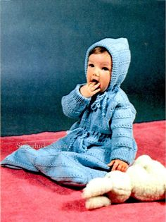 Vintage baby bunting PDF knitting pattern  by Superlucky8com