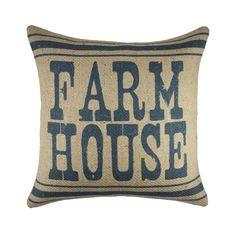 """Farm House Burlap Throw Pillow - 16""""x16"""""""