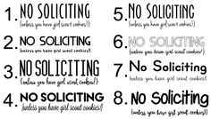 No Soliciting Decal {unless you have girl scout cookies!} #No-Soliciting
