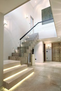 Modern Staircase Design Ideas - Modern stairways can be found in numerous design and styles that can be actual eye-catcher in the various location. We've compiled ideal 10 modern versions of stairs that can provide. Led Stair Lights, Stairway Lighting, Wall Lighting, Garage Lighting, Escalier Design, Concrete Stairs, Wood Stairs, Modern Stairs, Staircase Contemporary