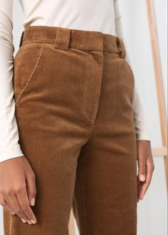 Corduroy Flared Trousers - Brown - Corduroy Trousers - & Other Stories 1960s Fashion Mens, Ladies Fashion, Aesthetic Fashion, Aesthetic Clothes, Casual Outfits, Fashion Outfits, Casual Clothes, Winter Outfits, Checked Trousers