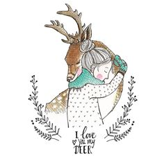 I love you my deer - illustration Art And Illustration, Illustration Mignonne, Christmas Illustration, Illustrations, Christmas Drawing, Christmas Art, Winter Drawings, Theme Noel, Inspiration Art