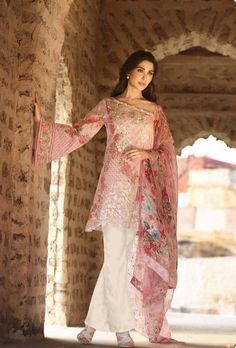 Pink designer trouser suit with printed dupatta