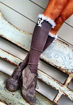 Gray Frilly Lace Boot Socks  Stretchy Cable Knit by ThreeBirdNest, $32.50