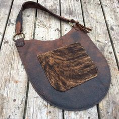 Rustic Leather Distressed Bison Leather Bag with Equestrian