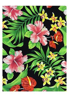 Barkcloth Hawaii Fabrics - Vintage Style Hawaiian Fabrics Tropical Botanical Vintage Hawaiian Barkcloth Fabric -  			   orchid, plumeria, an...