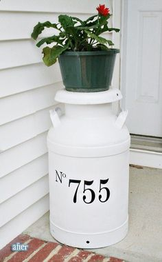 cute milk jug front porch