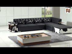 Modern Black Leather Sectional Sofa VGYIT152 - YouTube