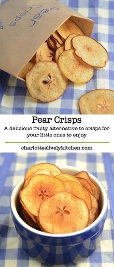 Pear crisps – A delicious, fruity alternative to crisps for your little ones t. Pear crisps – A delicious, fruity alternative to crisps for your little ones to enjoy. Really easy to make and. Healthy Snacks For Kids, Healthy Treats, Healthy Recipes, Healthy Crisps, Healthy Food Alternatives, Eat Healthy, Baby Food Recipes, Cooking Recipes, Free Recipes