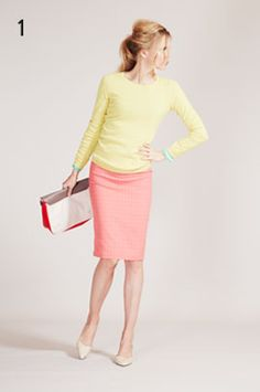 Boden, color blocking, pink/salmon skirt, yellow sweater