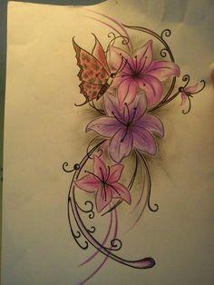 Cute flower and butterfly tattoo | tattoos | Pinterest | Butterfly ...