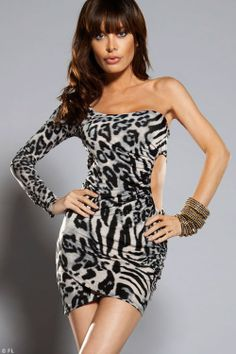 5002ff8a9ab5e Forplay Lingerie One Sleeve Animal Print Mini Dress