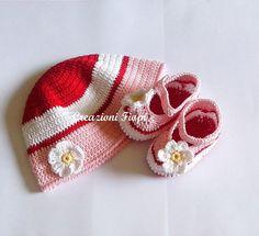 Set Cappellino e scarpine di cotone neonato a di Handmadesfiopi