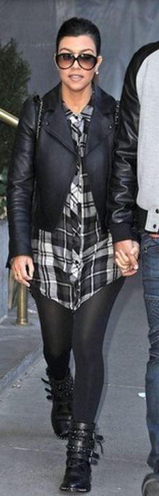 Kourtney Kardashian: Dress – Rails  Jacket – Valentino  Purse – Chanel  Shoes – Saint Laurent