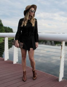 @HM #black #lace #top #bell #sleeve #outfit