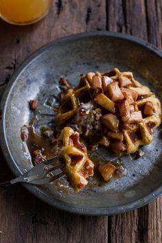 Overnight Cider Pumpkin Waffles w/Toasted Pecan Butter, Cider Syrup + Spiced Apples   halfbakedharvest.com @hbharvest
