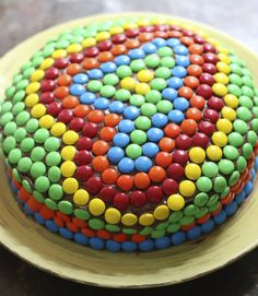 Kids' birthday cake idea — decorating their age with M&M's!   #birthday #cake #birthdaycake #mms #candy #decorating #children #kids #baking
